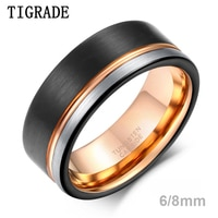 TIGRADE Ring Men Tungsten Ring Black Rose Gold Line Brushed 6/8mm Wedding Band Engagement Ring Men's Party Trendy Bague Homme