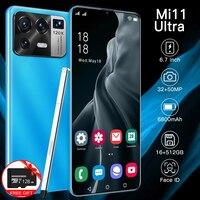 Mi 11 Ultra 6,7 Zoll Globale Version Smartphone 16 + 512GB 6800mAh Batterie Android Telefon Volle Bildschirm Unterstützt google Wifi 5G Telefon