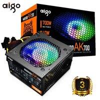 Aigo RGB Netzteil 700W Leiser NETZTEIL Computer Power 12V ATX Aktive PC Netzteil Lüfter Für intel AMD BTC Desktop Gaming