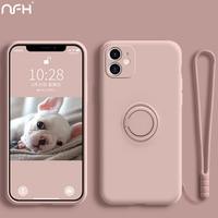 Iphone 12プロ高級磁気液状シリコーンケースiphone 12ミニ11プロxr xs最大SE2 6s 7 8プラスリングとストラップ