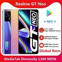 Globale Rom Realme GT Neo 5G Smart Telefon Dimensity 1200 6.43 ''Super AMOLED Bildschirm 4500mAh 50W super Ladung 120Hz 64MP Kamera