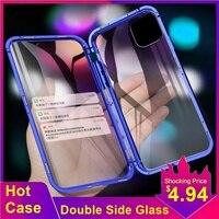 Tongdytech iphone 5 xs 11 12 13プロmax x 7 8 6プラスcoque金属電話カバー強化ガラス360保護ケース