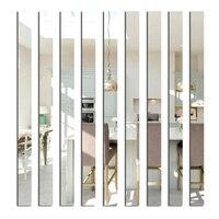 20pcs 장식 벽 거울 긴 아크릴 벽 스티커 3D 벽 스티커 배경 거울 스트립 천장 허리 라인 홈 장식