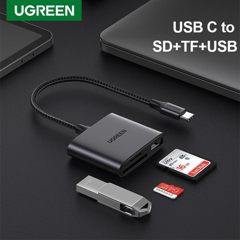 Ugreen-lector de tarjetas USB tipo C a Lector de Tarjetas Micro SD para PC, iPad, Accesorios para ordenador portátil, adaptador de tarjetas de memoria SD para teléfono