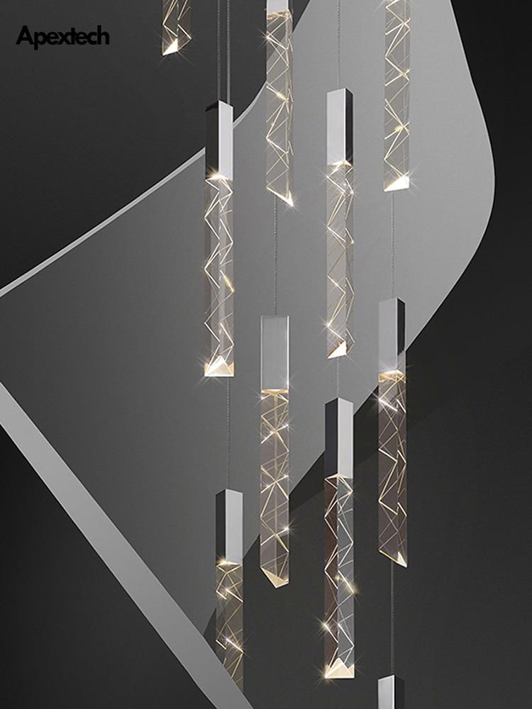 Moderne Loft LED Kronleuchter K9 Kristall Chrome Duplex Treppen Kronleuchter Wohnzimmer Hotel Decke Hängen Licht Luxus Anhänger Lampe