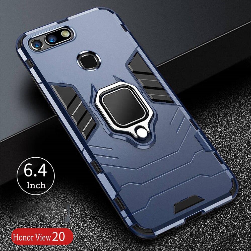 Por Honor 20 caso armadura cubierta de la PC anillo de dedo titular del soporte teléfono funda para Huawei Honor View20 V20 caso resistente a prueba de golpes a prueba de parachoques