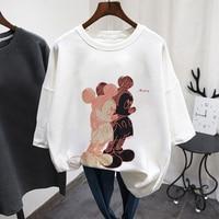 Disney Mickey Mouse summer T-shirt ladies black plus size casual O-neck top ladies Kormen Korean Harajuku clothes