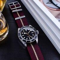 프리미엄 나토 스트랩 20mm 22mm 나일론 교체 팔찌 시계 스트랩 조정 가능한 나일론 시계 밴드 튜더를위한 단일 패스 스타일