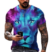 Summer trend men and women 3D printing lion tiger oversized T-shirt fashion O-neck short-sleeved streetwear hip-hop T-shirt