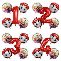 5 Pcs Super Mary Mario Balloon Cartoons Mario Game Theme Decorative Balloons Children's Birthday Party Decorations Balloon Toy
