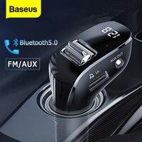 Baseus FM Transmitter Bluetooth-kompatibel 5,0 FM Radio Modulator Dual USB Auto Ladegerät Freihändiger Drahtloser Aux Audio MP3 Player