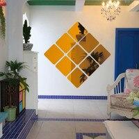 1PC 3D 스퀘어 미러 타일 벽 스티커 데칼 홈 거실 장식