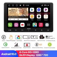 autoradio 2 Din Car Player 4GWIFI Android 10.0 Autoradio,Bluetooth-kompatibel,CarplayAndroid Auto,GPS Navigation Live-Rückansicht Multimedia-Videoplayer 6G+128G