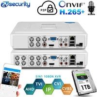 H.264 Onvif 4 Kanal 8Ch CCTV Hybrid DVR 1080N 5IN1 Recorder für AHD Kamera TVI CVI Analog Kamera Mini NVR für IP Kamera PTZ