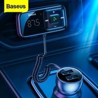 Baseus Auto FM Transmitter Bluetooth-kompatibel 5,0 USB Auto Ladegerät AUX Freihändiger Drahtloser Kit Auto Radio Modulator MP3 Player