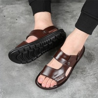 Yomior New 2020 Summer Men Shoes Flats Vintage British Slip-On Genuine Leather Casual Non-slip Beach Sandals Slippers Flip Flop