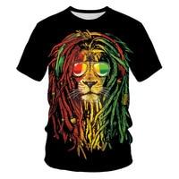 Summer 3D printing lion tiger men's T-shirt fashion O-neck casual T-shirt plus size T-shirt 6XL hot-selling punk streetwear top