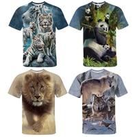 3D Print Lion Tiger Wolf Panda T-shirt Men Women Tshirt Trendy T Shirt Streetwear Summer Animals Short Sleeves Tee Tops Camiseta