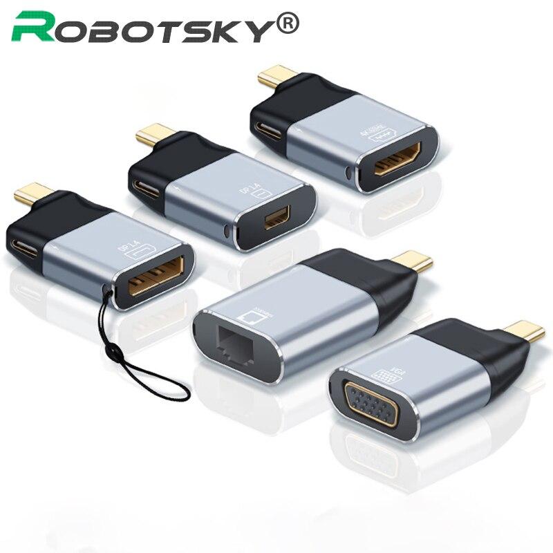 New UHD 4K 60Hz Type-C to HDMI-compatible/VGA/DP/RJ45/Mini DP Video Converter USB Type C Adapter For Samsung Huawei MacBook