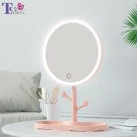 LED 메이크업 거울, 라이트 포함, 여성 스토리지 메이크업 램프, 데스크톱 회전 화장대 거울, 라운드 모양 화장품 거울, 침실용