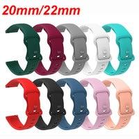 20mm 22mm 다채로운 실리콘 시계 밴드 교체 스트랩 삼성 갤럭시 워치 액티브 기어 S2 S3 화웨이 Amazfit Bip 팔찌, Samsung Galaxy Watch Active Gear S2 S3 Huawei Amazfit Bip Bracelet