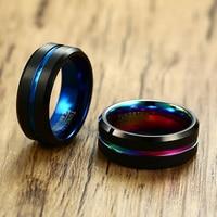 Vnox 8mm Matte Surface Tungsten Carbide Men Ring Classic Black Wedding Bands Male Alliance Anniversary Gift Comfort Wear