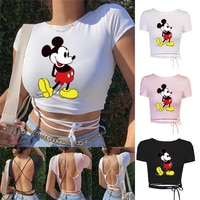 Disney Mickey Mouse Summer Ladies Open Sexy Halter Top Ladies Bandage Halter T shirt Club High Street Slim T shirt Top