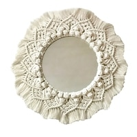 Boho Macrame 벽 마운트 거울 손으로 만든 짠 술 매달려 벽 거울 태피스 트리 메이크업 거울 홈 벽 장식