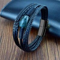 Pulseiras de couro trançado para homens, bracelete vintage multicamadas de pedra, pulseira étnica de aço inoxidável com contas para homens