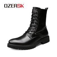 OZERSK אביב סתיו גברים ארוך מגפי בציר שחור תחרה למעלה זכר מגפי בוהן עגול צבאי אמיתי מגפי עור בתוספת גודל 37 ~ 50