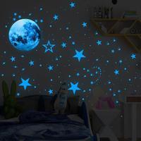 30cm Blue Moon 435pcs Blue Luminous Moon Star Sticker 166pcs Star Decal Decoration