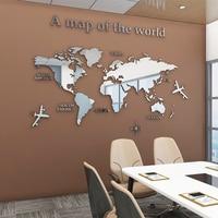 유럽 유형 세계지도 3D 아크릴 벽 스티커, 크리스탈 거울 스티커, 사무실 소파 TV 배경 벽 장식 스티커