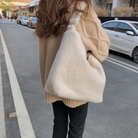 Winter Lamb Faux Fur Ladies Shoulder Bag Solid Color Soft Fluffy Plush Women Messenger Bags Large Capacity Female Casual Tote