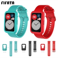 FIFATA-화웨이용 소프트 실리콘 스트랩 + 보호 커버, 팔찌 보호 케이스 쉘 + 스포츠 시계 밴드