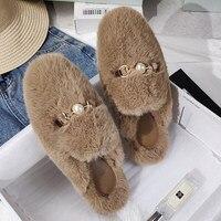 Women Mules Fur Slippers Home Winter Shoes Plush Female Fashion Warm Comfort Couple Flats Shoe Ladies Plus Size Elegant Luxury