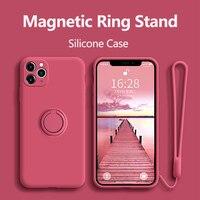 とリングiphone 11プロマックスxr x xs 6 7 8プラスse 2020 12ミニ高級ホルダー磁気ソフトストラップ電話カバー