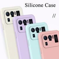 Luxus Platz Silikon Fall Für Xiaomi Mi 11 10 Ultra 9 8 10T 9T Pro Lite Se Matte weichen Fall Für Mi A2 A3 Lite Candy Farbe Dünne