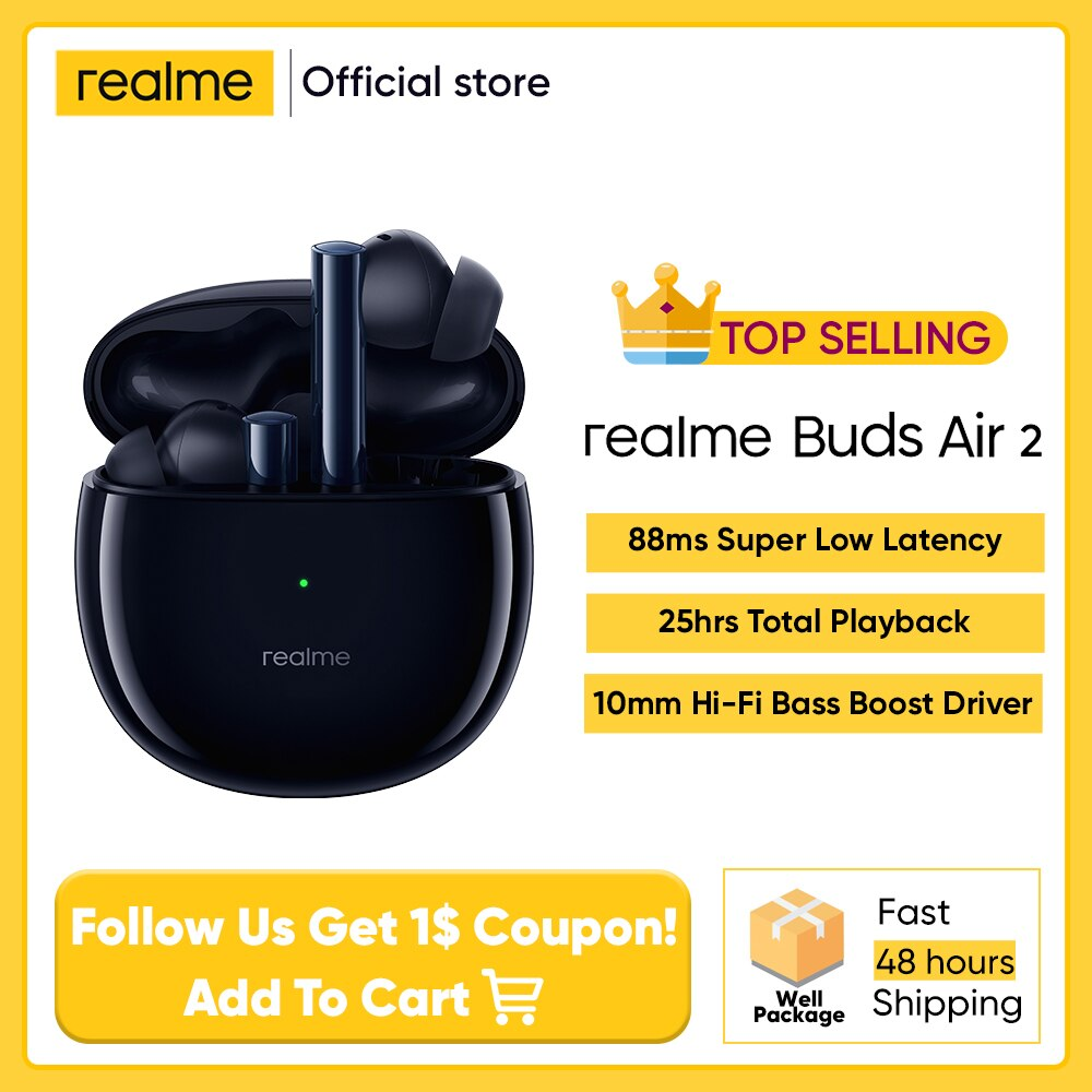 Auriculares inalámbricos realme Buds Air 2 ANC, cascos deportivos con Bluetooth, 88ms, superbajo, latencia, reproducción de 25h