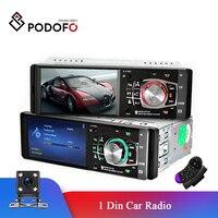 Podofo-rádio automotivo, 1 din, tela de 4.1 polegadas, hd, multimídia, mp3, mp5, bluetooth, estéreo, fm, controle remoto, reprodutor de vídeo