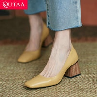 QUTAA 2021 כיכר הבוהן להחליק על נשים נעלי עור אמיתי רדוד גבירותיי נעלי אביב סתיו תמציתי כיכר גבוהה עקבים Size34-39