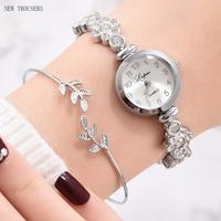Luxury Women Rose Gold Watch Fashion Ladies Quartz Diamond Wristwatch Elegant Female Bracelet Watches 2pcs Set Reloj Mujer