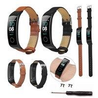 Huawei Honor Band 용 가죽 팔찌 5 4 고품질 손목 밴드 스트랩 스마트 액세서리 교체 Smartwatch Band Straps