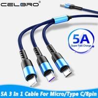 5A 3 in 1 USB Kabel Ladegerät Schnelle Lade Micro USB Typ C Kabel für Huawei P40 P30 Samsung M31s hinweis 20 Ultra Xiaomi Draht Kabel