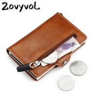 2021 RFID בלוק כרטיס רוכסן בעל מטבע ארנק רב תכליתי כרטיס מקרה קצר עור מפוצל כרטיס ארנק עבור גברים & נשים כסף תיק