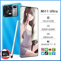 Mi11 Ultra 6,7 Zoll Globale Version Smartphone Volle Bildschirm 16 + 512GB ROM 32 + 50 MEGAPIXEL HD Kamera android-Handy entsperrt 4G 5G Handy