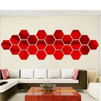12Pcs 3D Hexagon Acrylic Mirror Wall Stickers DIY Art Wall Decor Stickers Living Room Mirrored Sticker Gold Silver Home Decor