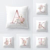 Alphabet Floral Print Pillow Case Waist Cushion Cover Wedding Bed Decor Sofa Car Throw pillow Cushion Cover Home Decoration 1Pcs