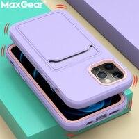 ソフト液状シリコーンカードホルダーiphone 11 12プロマックスミニxs × xr 7 8プラスse 2020高級財布耐衝撃カバー