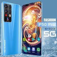 7,8 zoll P50 Pro Smartphone Handy 16GB + 512GB 40MB + 48MB 5600mAh 5G Netzwerk Handy Android 11 Globale Version Telefon 2021