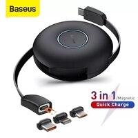 Baseus المغناطيسي 3 في 1 USB C كابل آيفون 12 11 USB نوع C شحن سريع كابل البيانات لسامسونج شاومي قابل للسحب الحبل